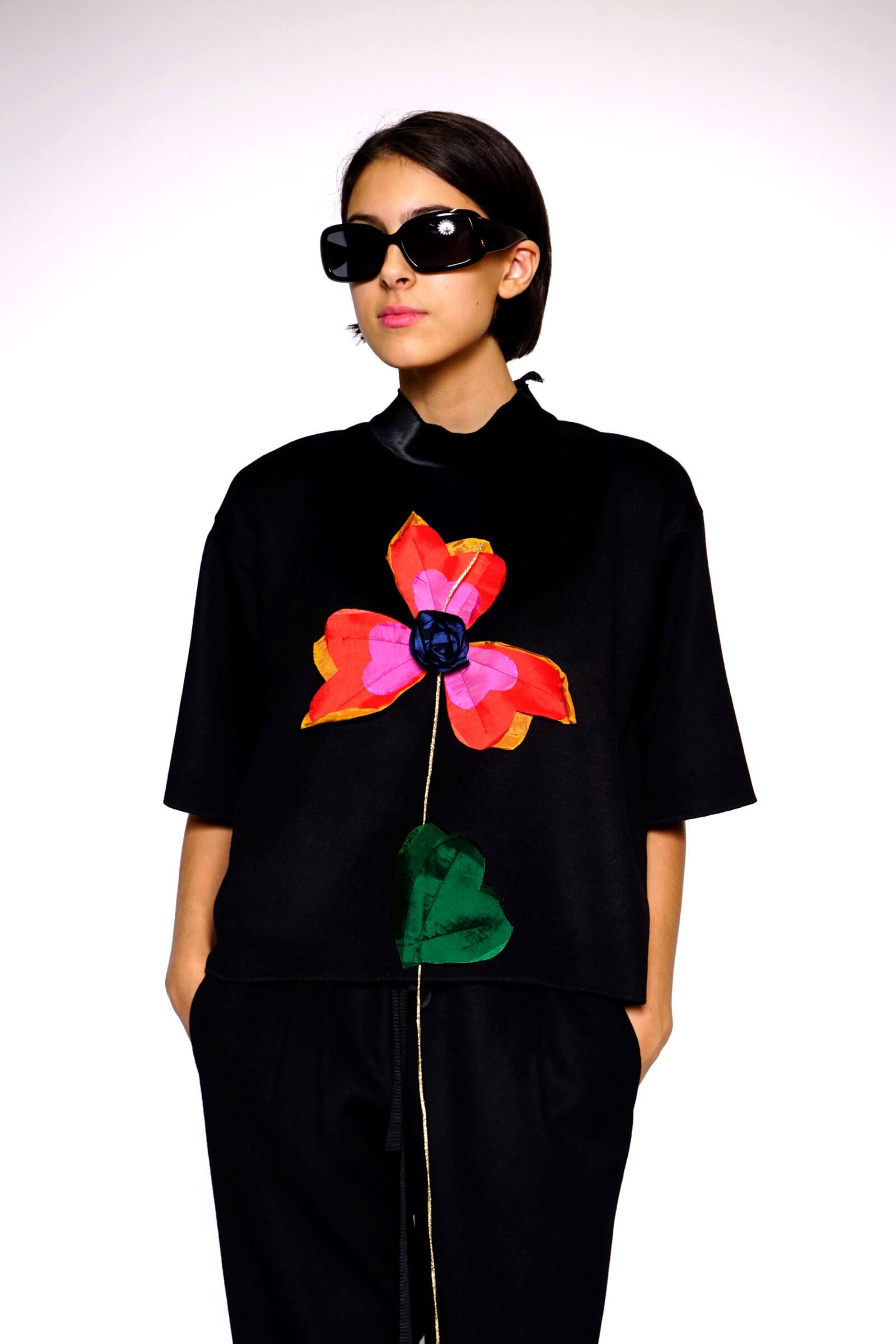 Black top with flower...