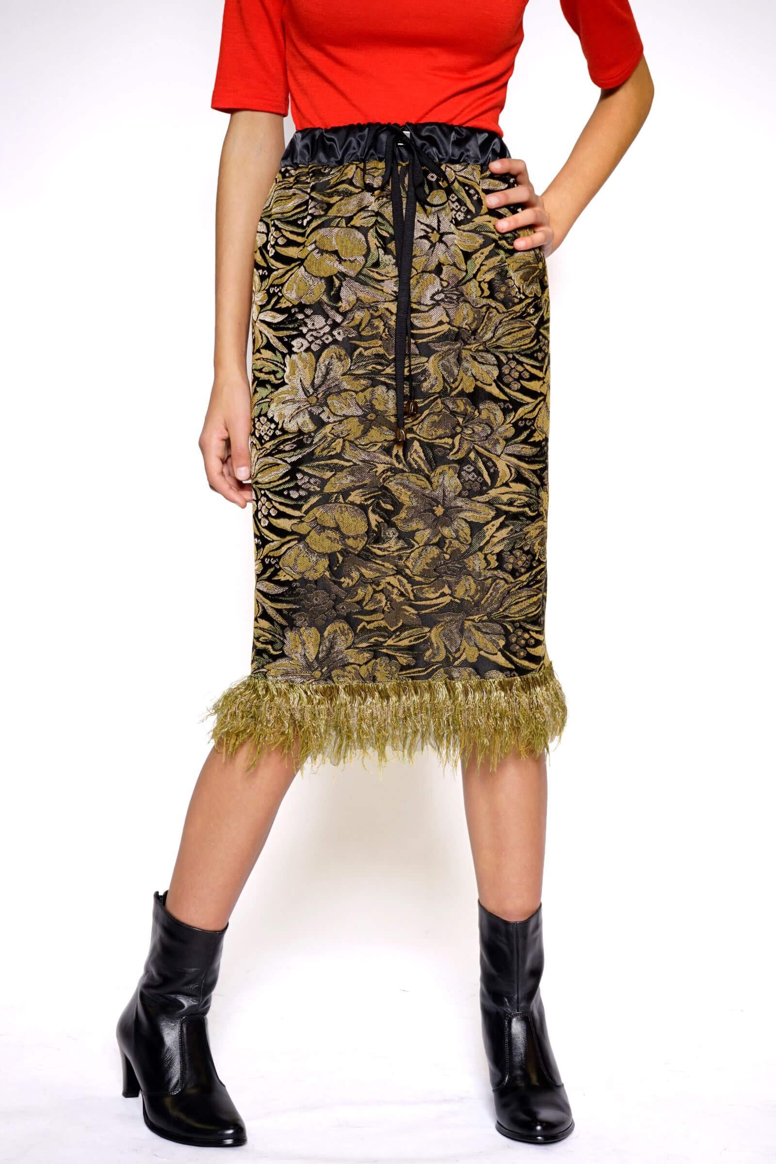 Straight brocade skirt