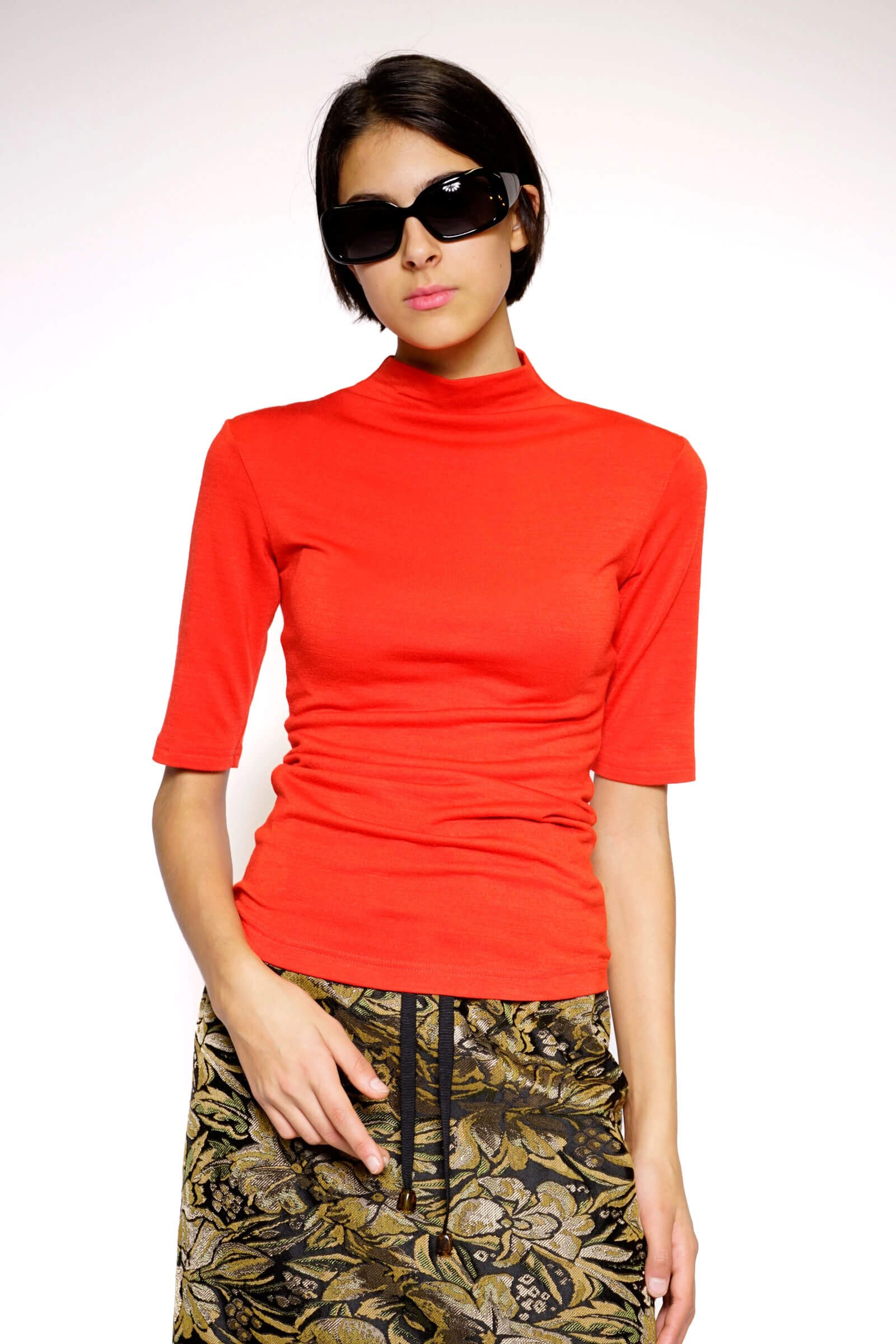 Red turtleneck with short...
