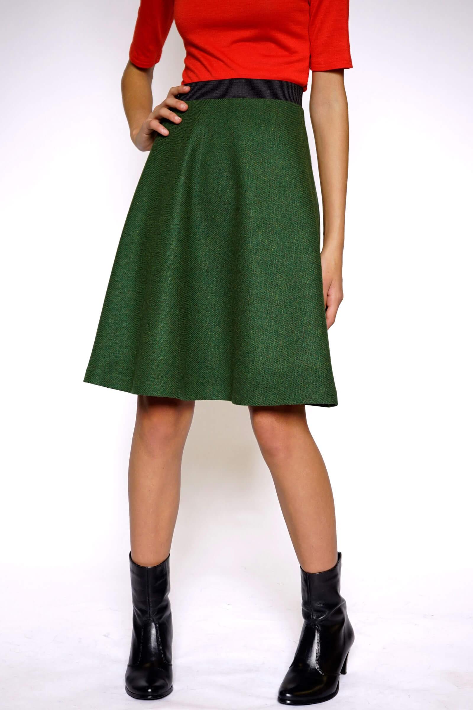 Flared green skirt