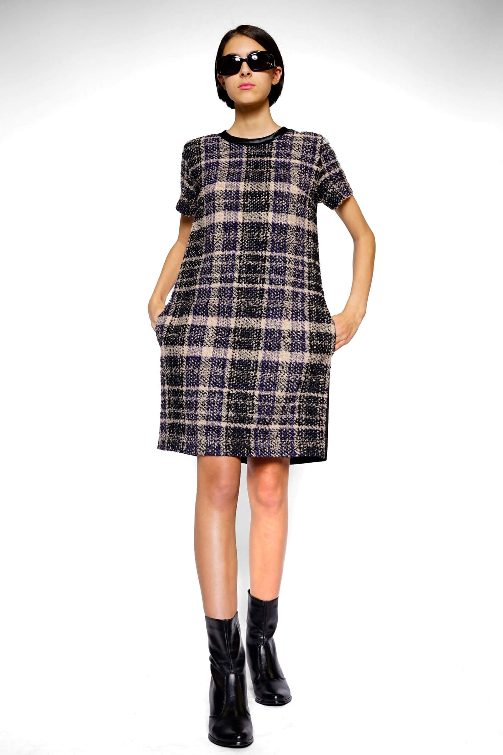 Straight plaid dress