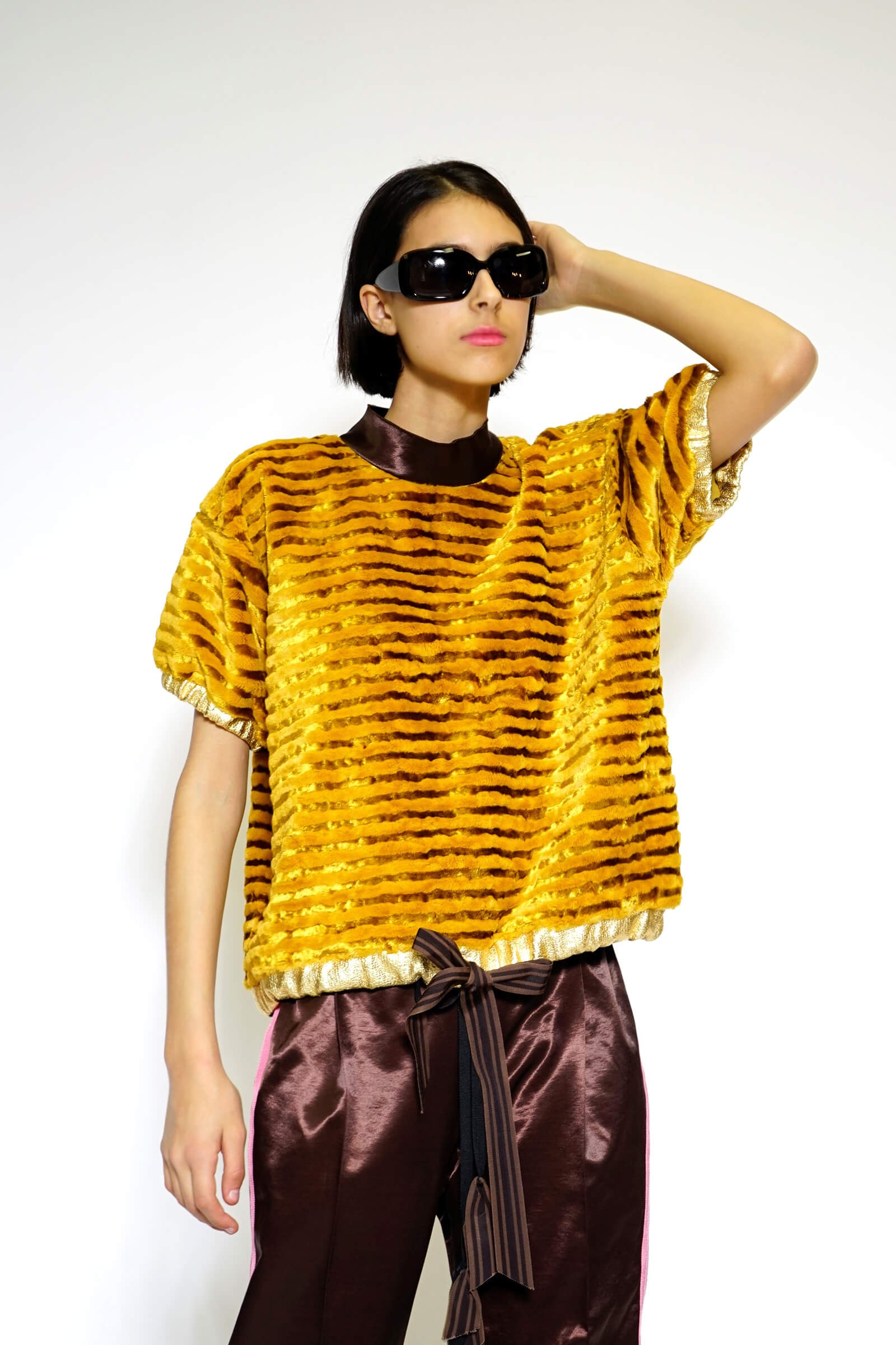Yellow striped eco fur top