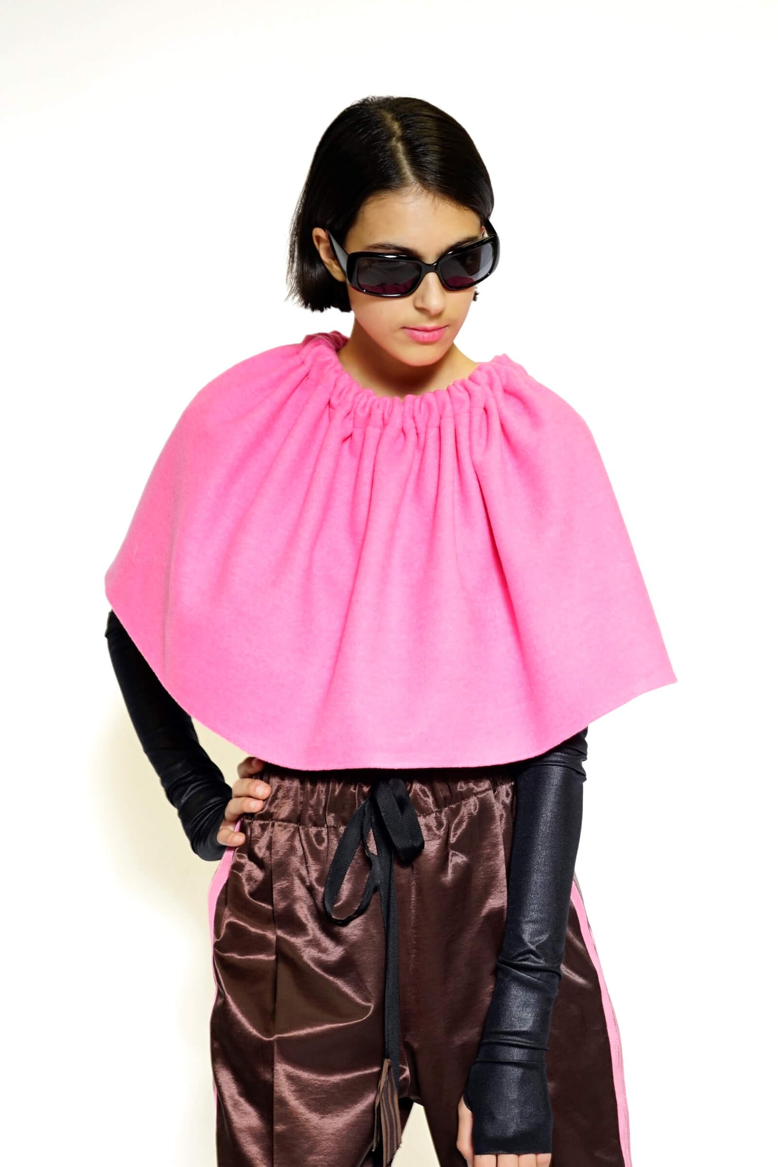 Pink fabric cape