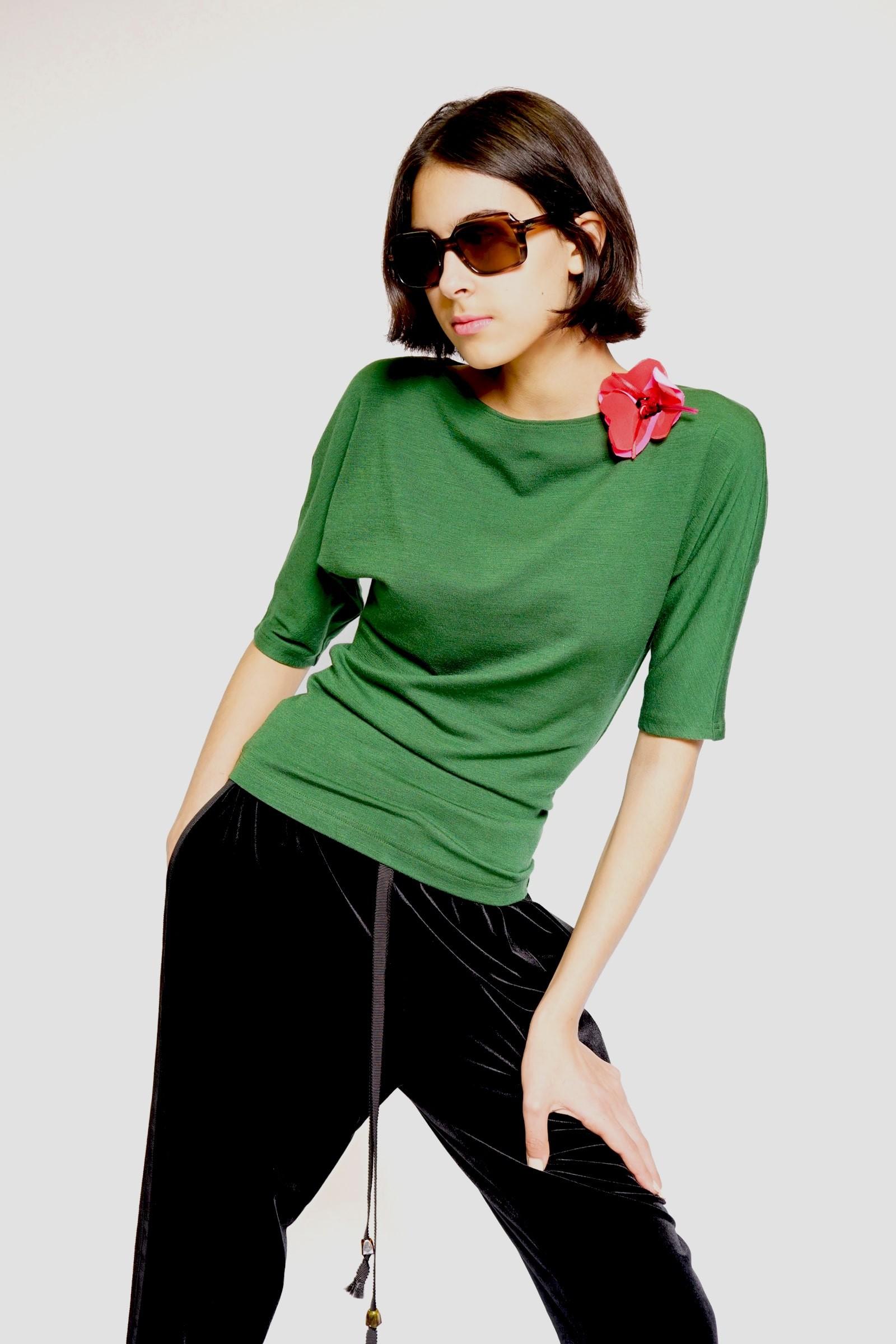Green kimono blouse with...