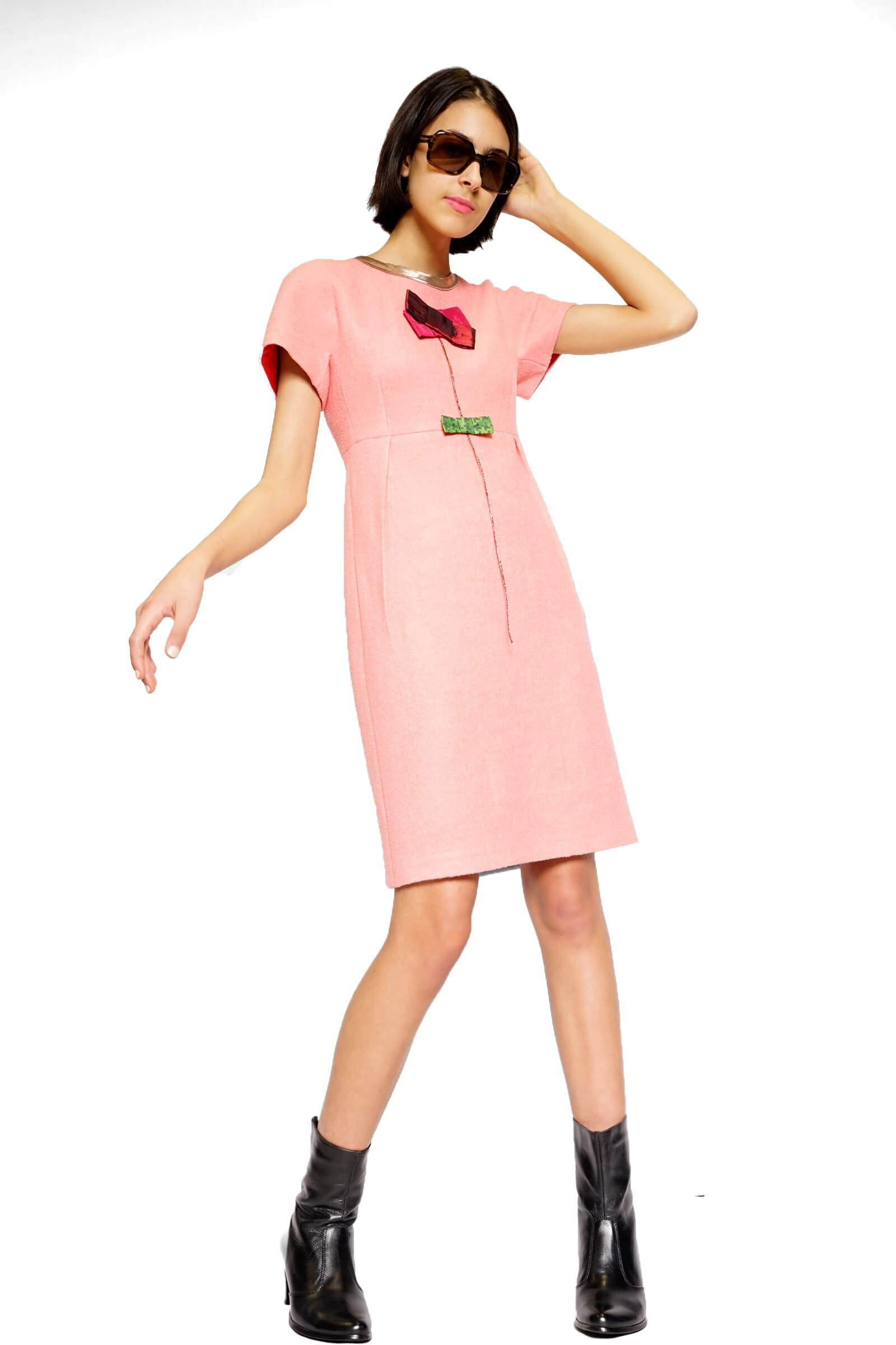 Pink kimono dress with a...