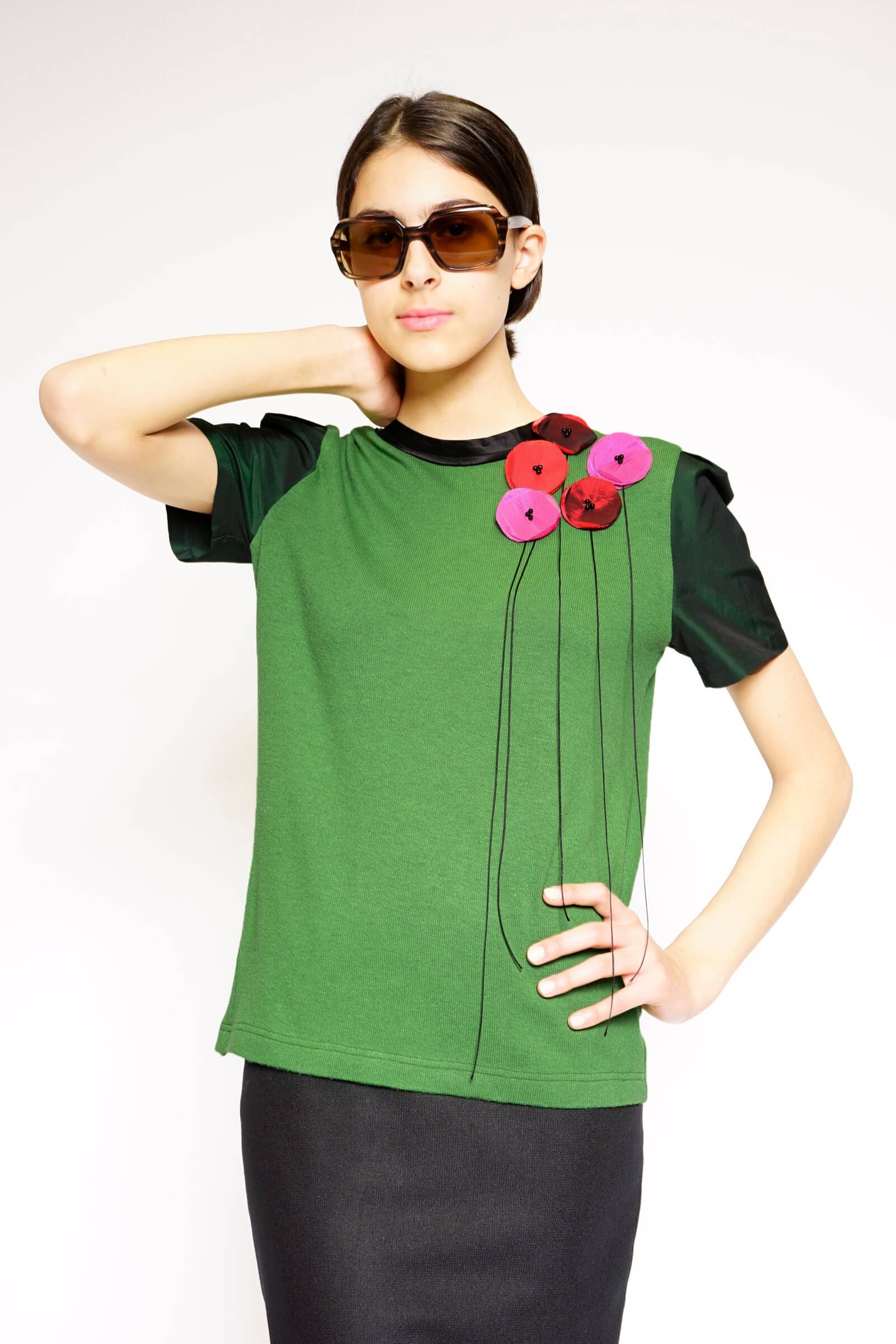 Green blouse with colored...