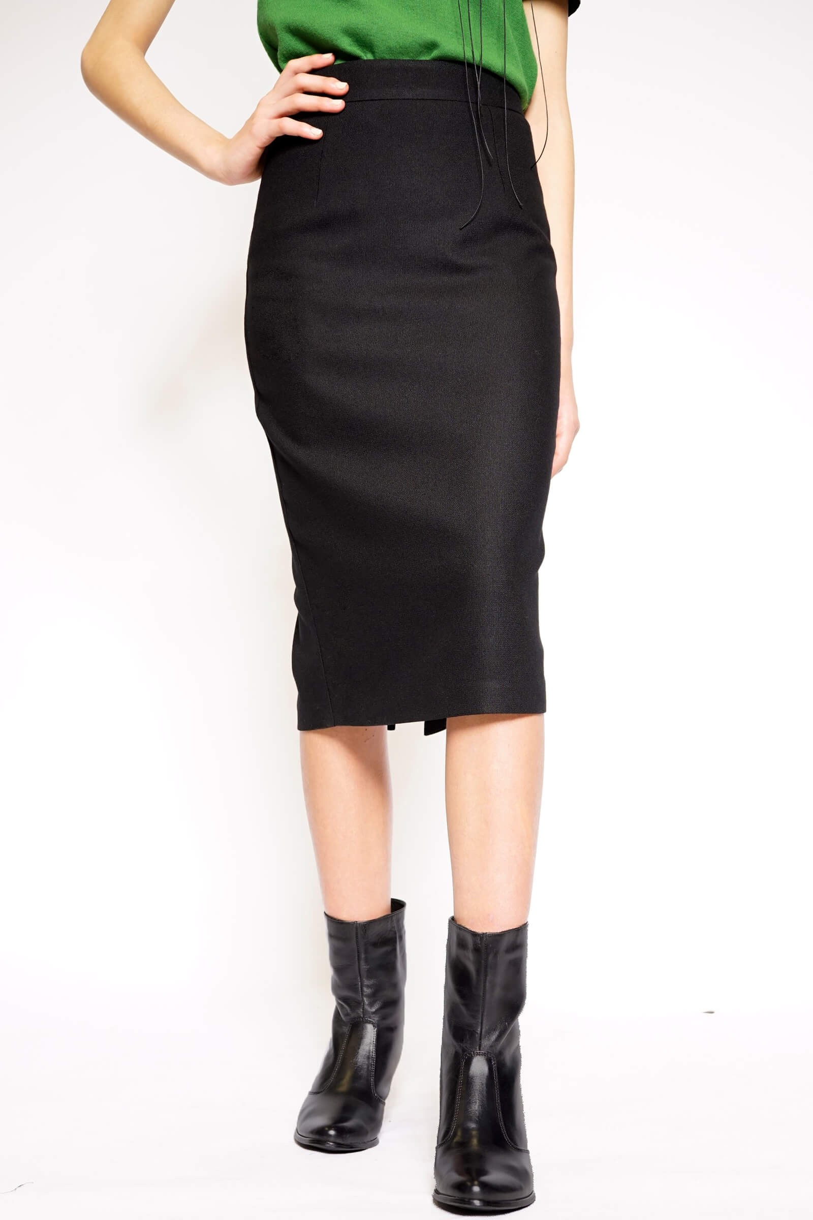 Black conical wool skirt