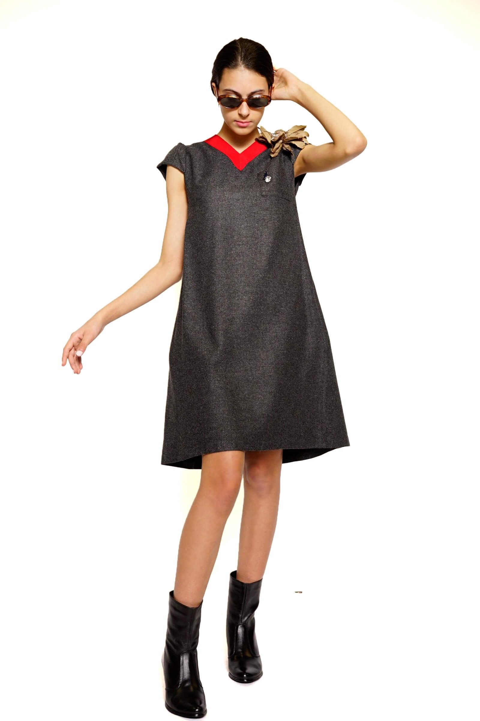 Flared dress made of fir...