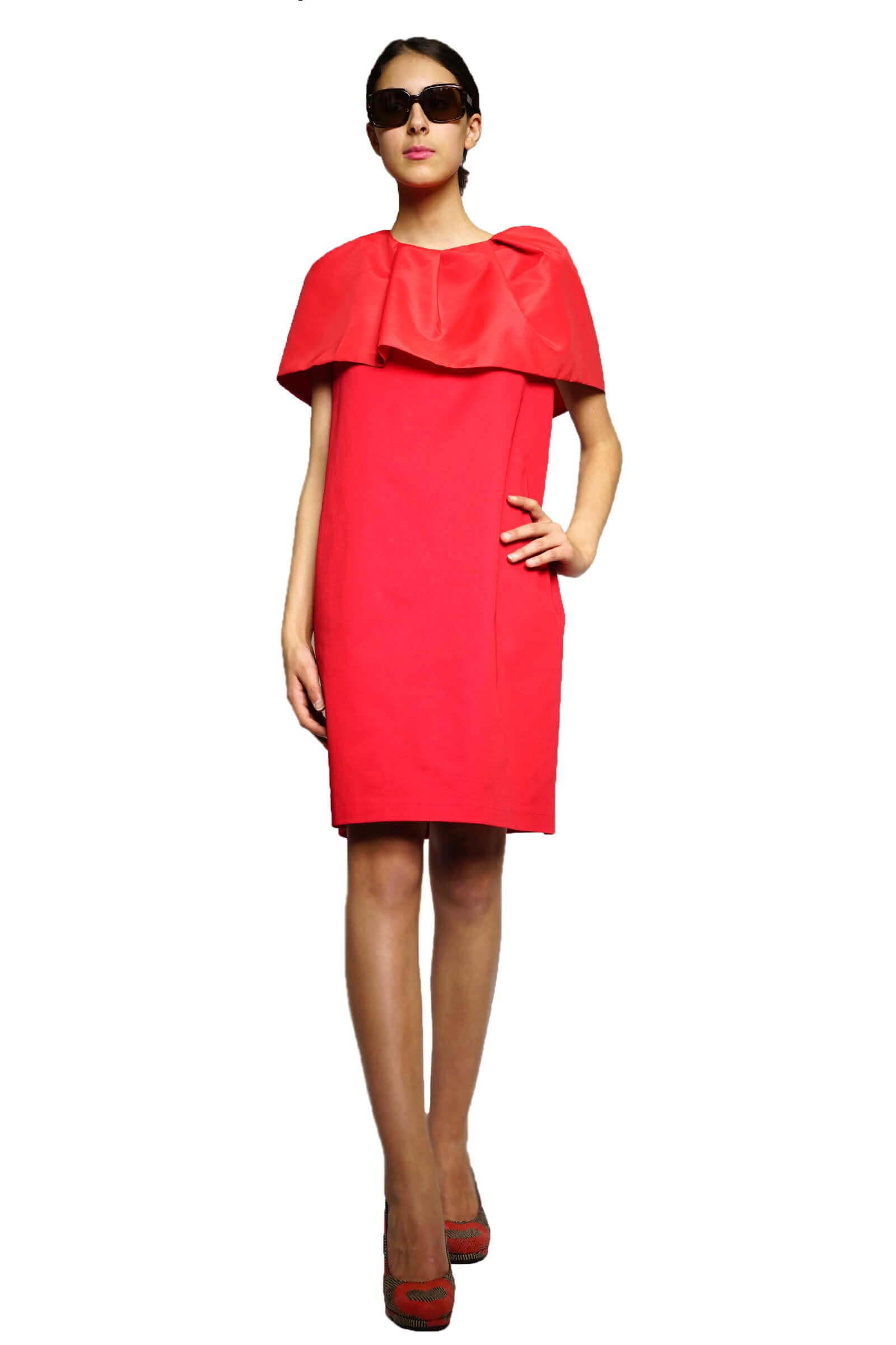 Red dress with ruffle