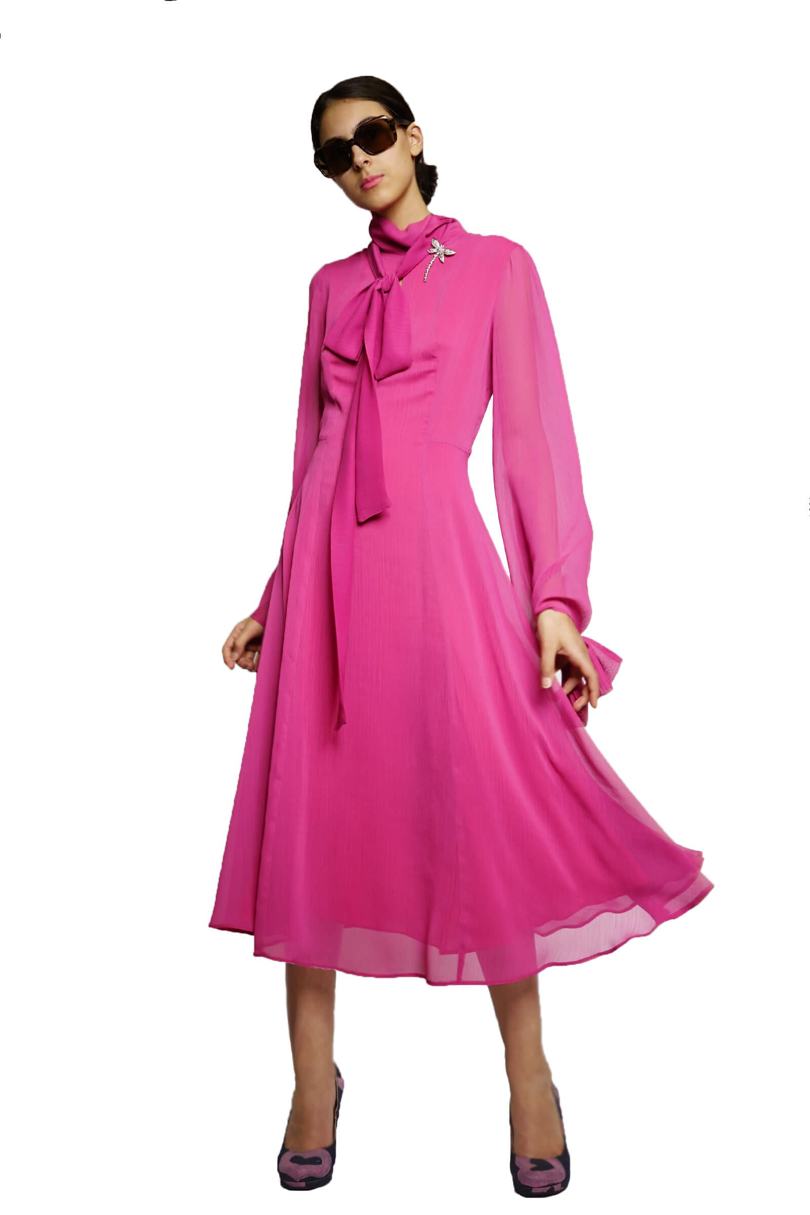 Pink veil dress with scarf...