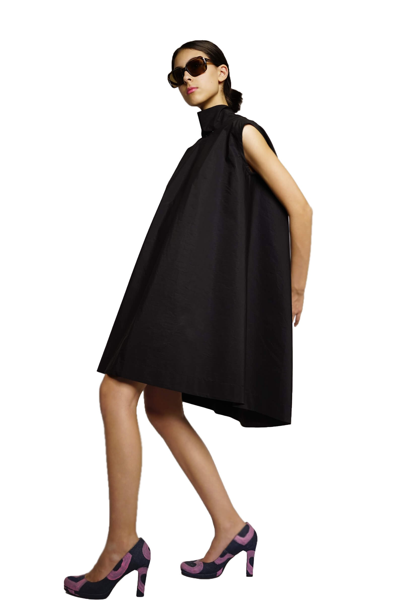 Flared black dress with low...