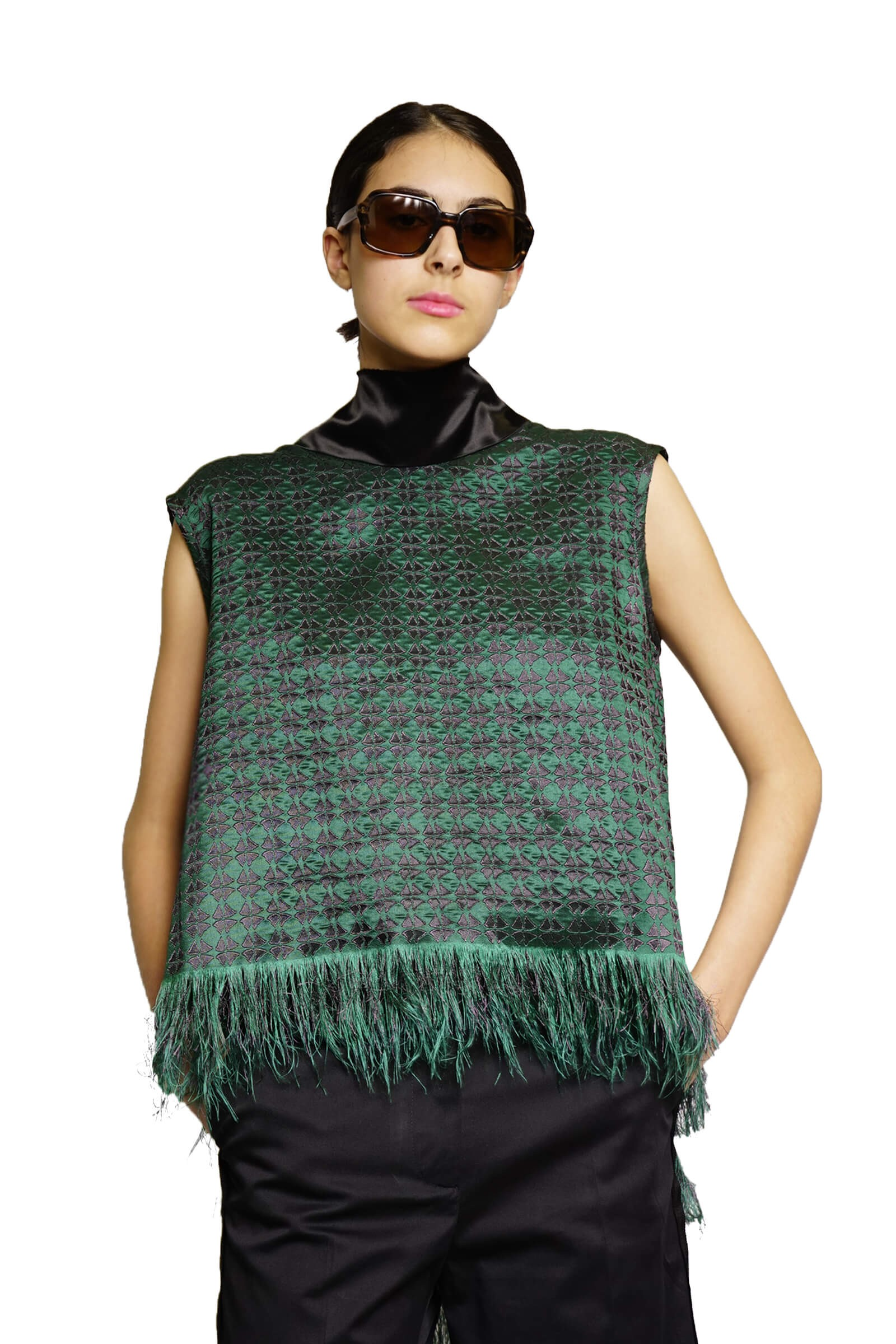 Green top with fringes and...
