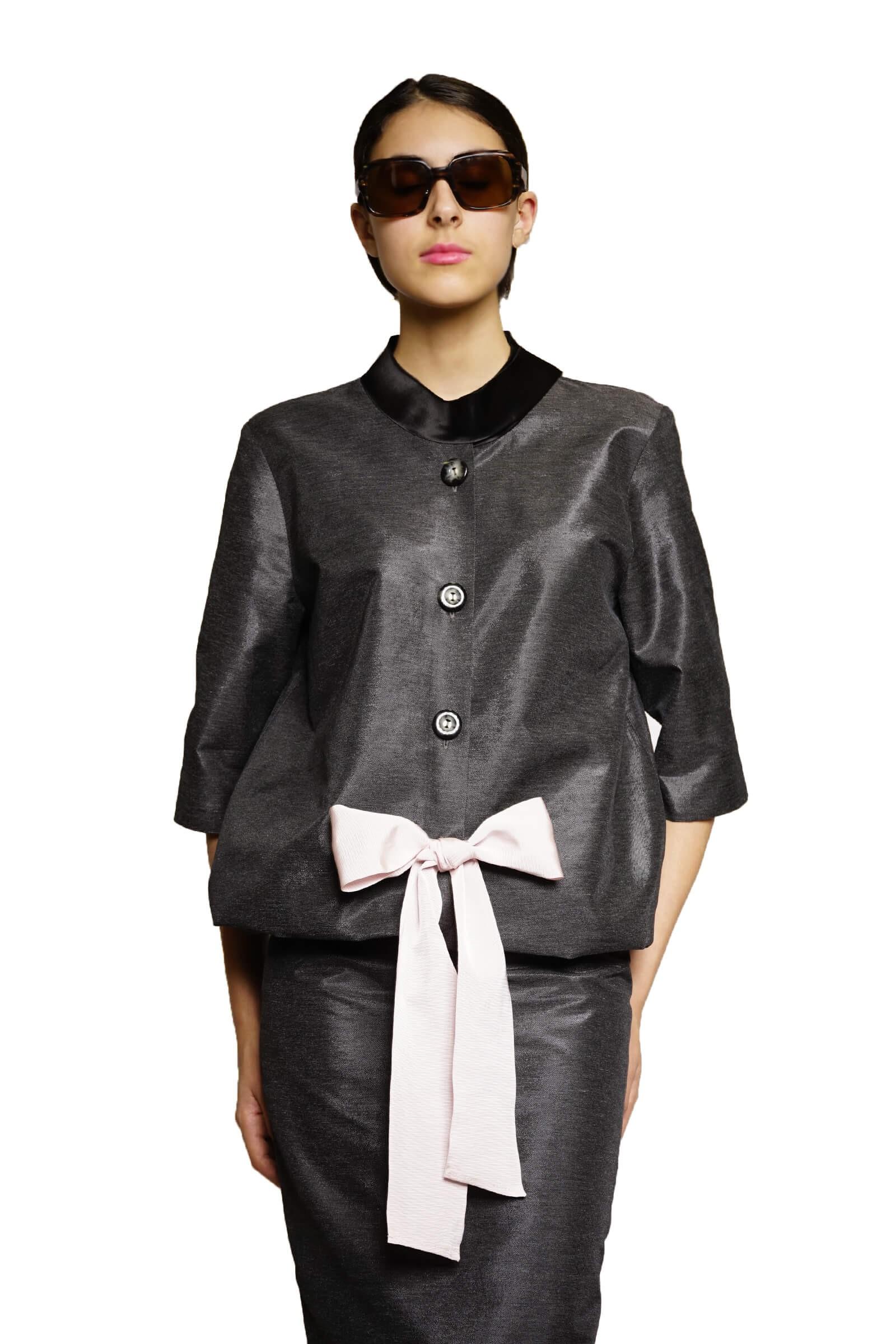 Black blazer with a bow