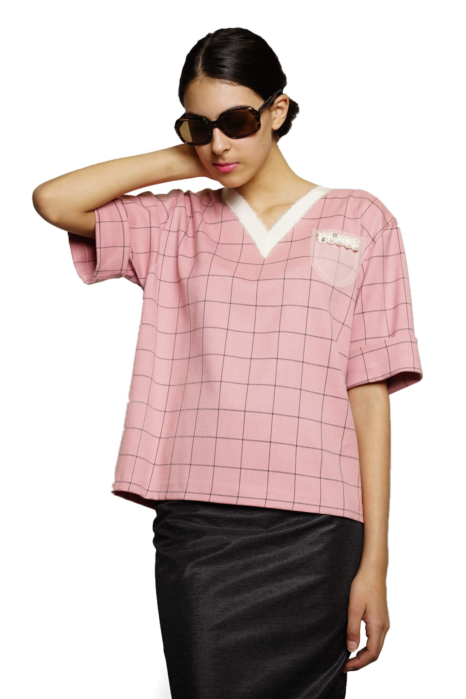 Pink checkered top with anchor