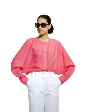 Cyclamen cotton kimono shirt