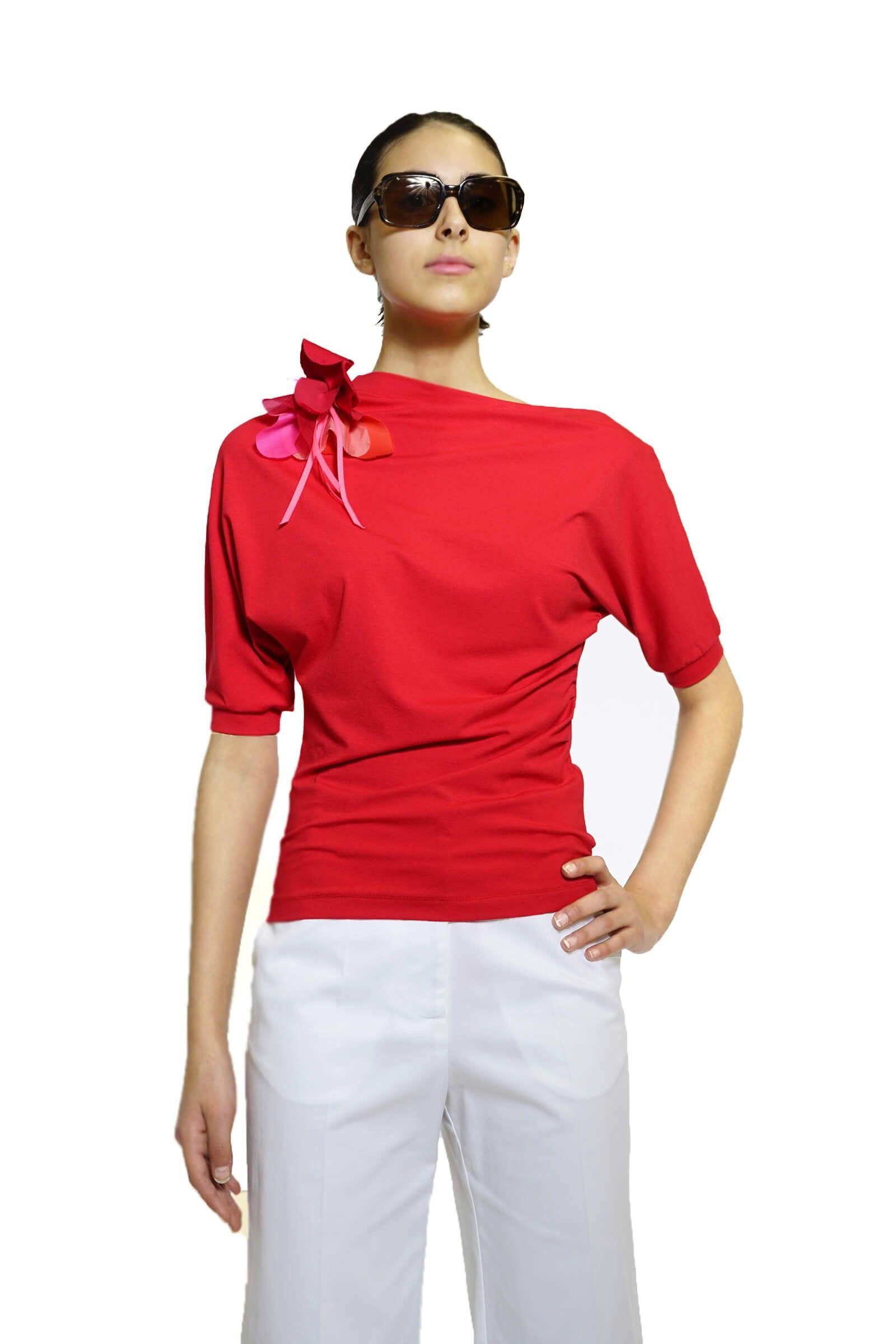 Bluza asimetrica rosie
