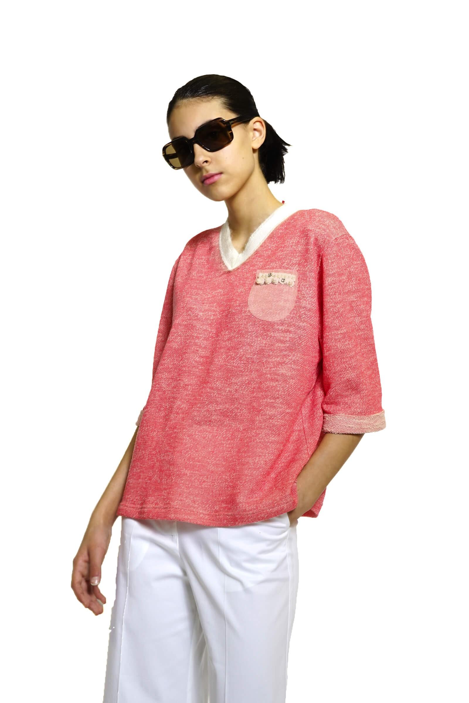 Tricou roz cu anchior