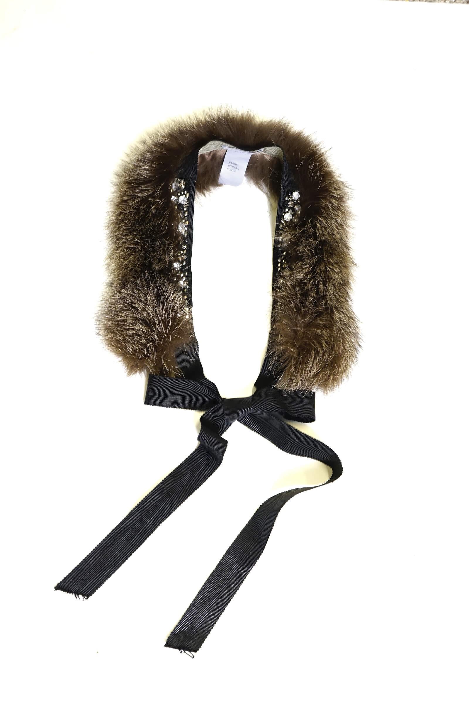 Brown fur collar