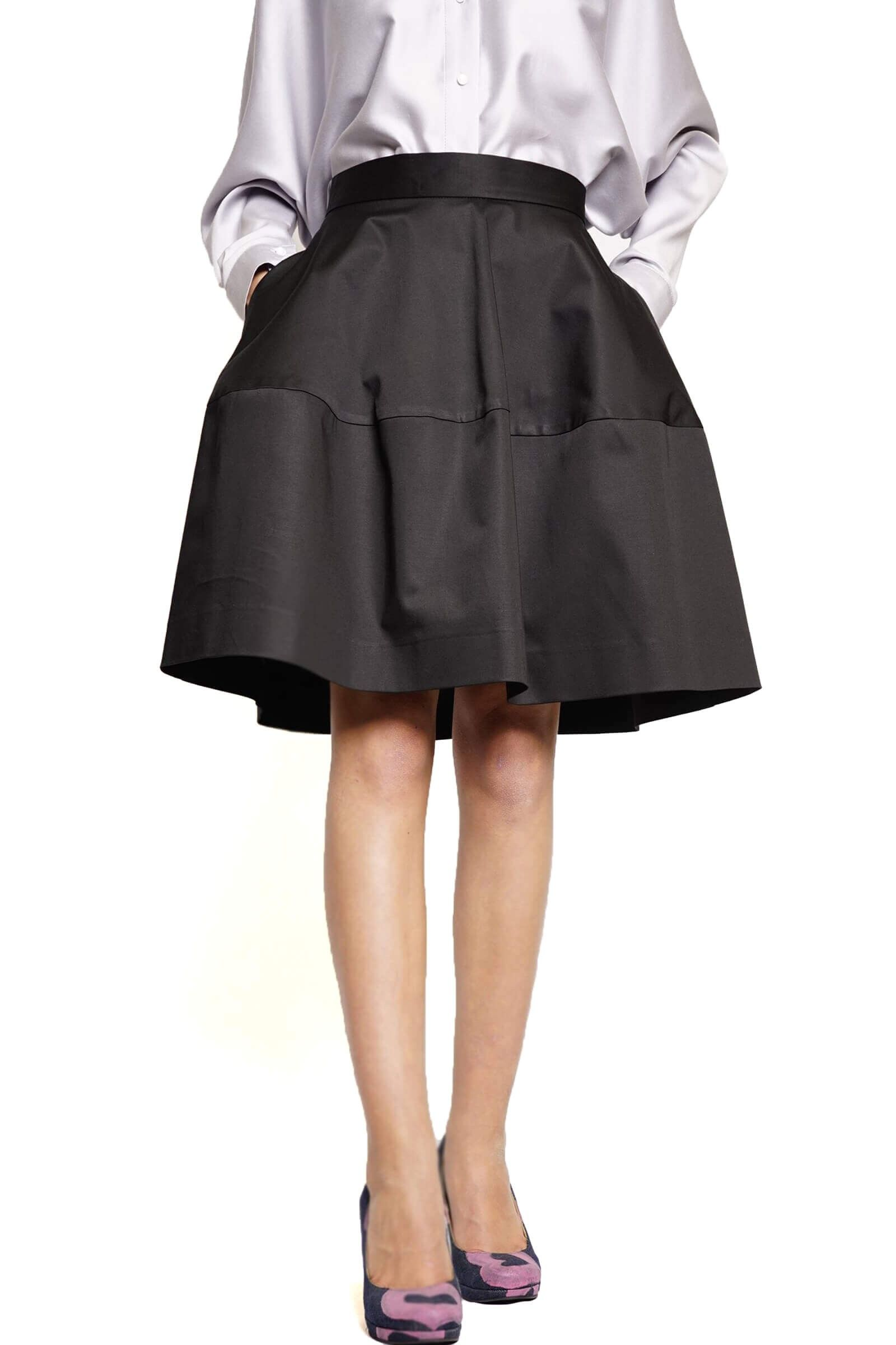 Black cotton closed skirt