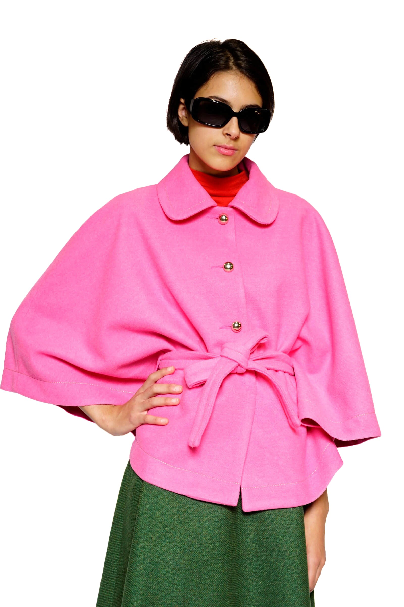 Pink wool poncho