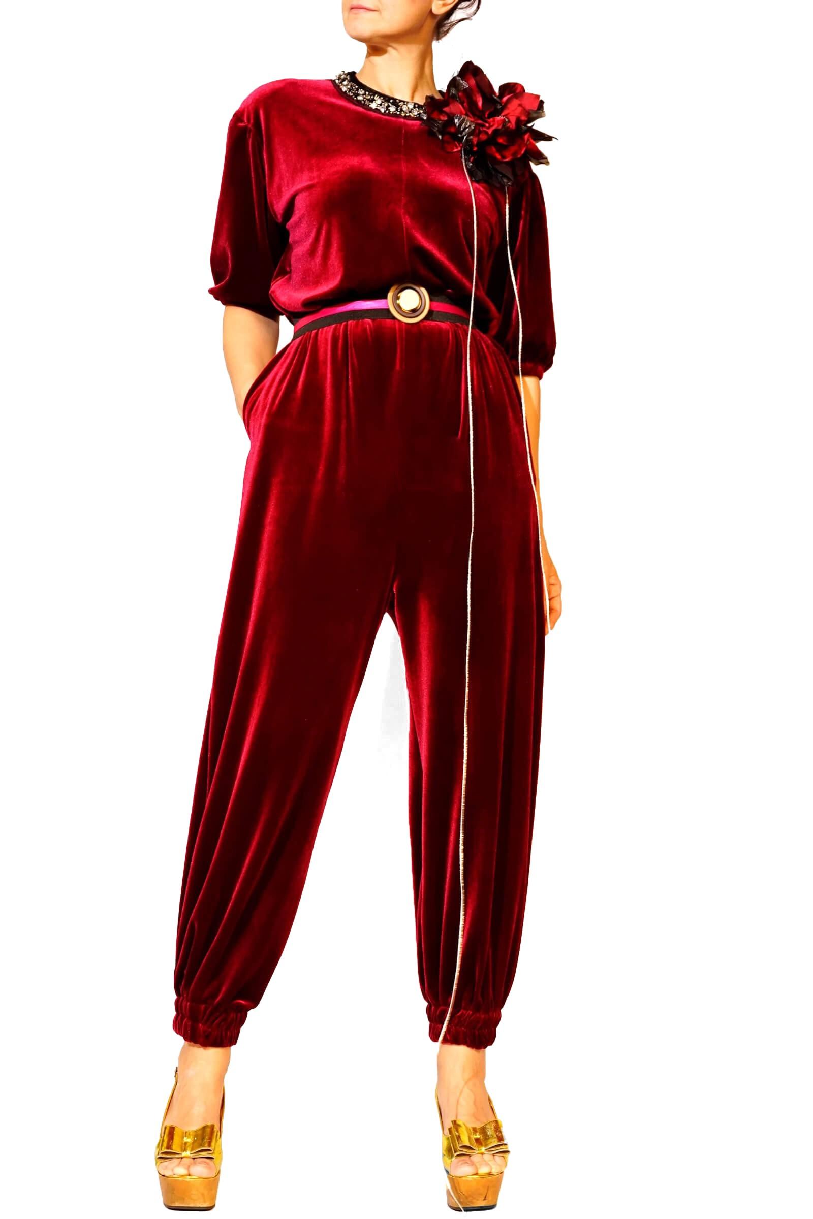 Red velvet jumpsuit