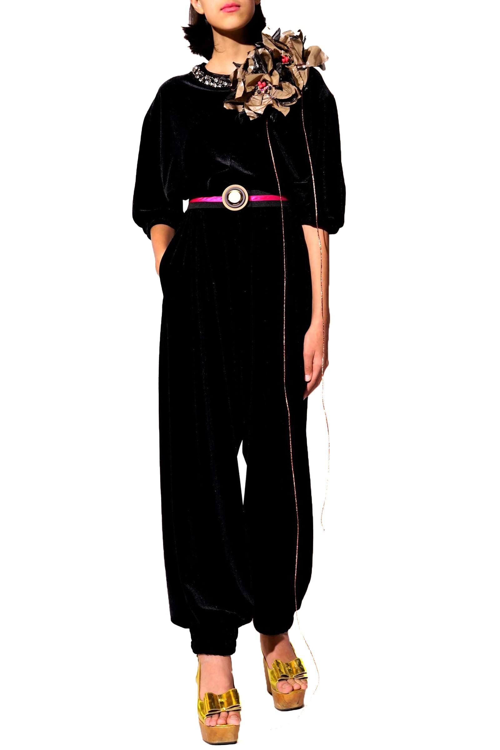 Long black velvet jumpsuit