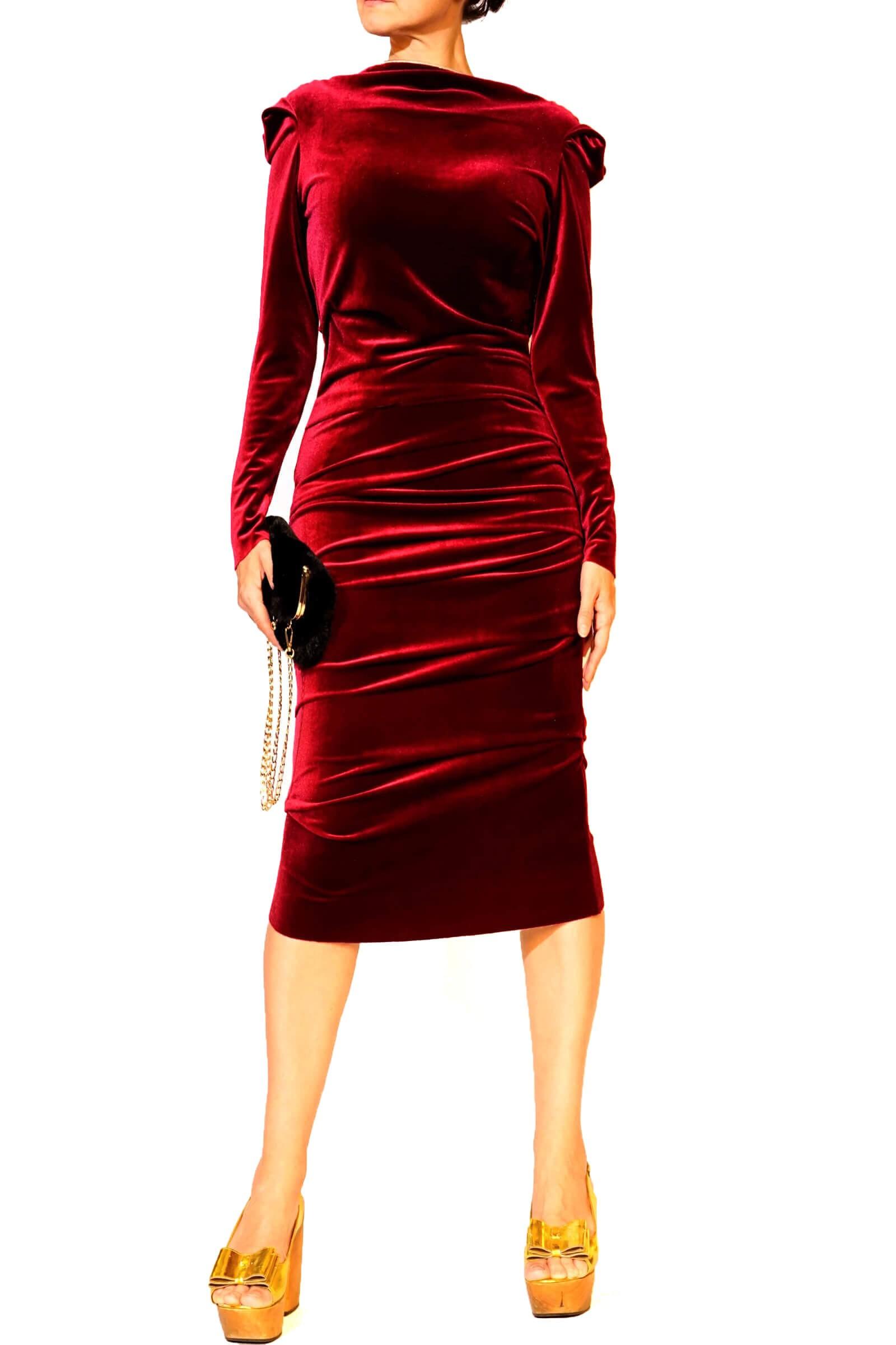 Red velvet dress with pleats