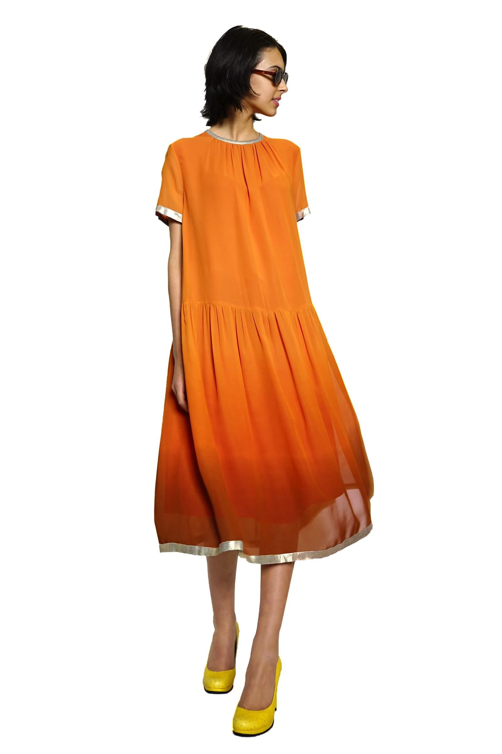 Gradient orange veil midi...