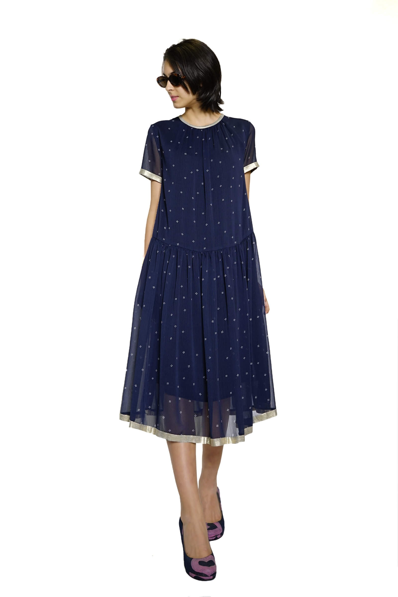 Navy veil midi dress with...