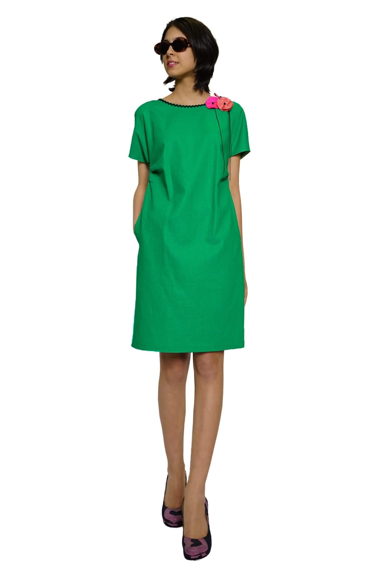 Green linen kimono dress