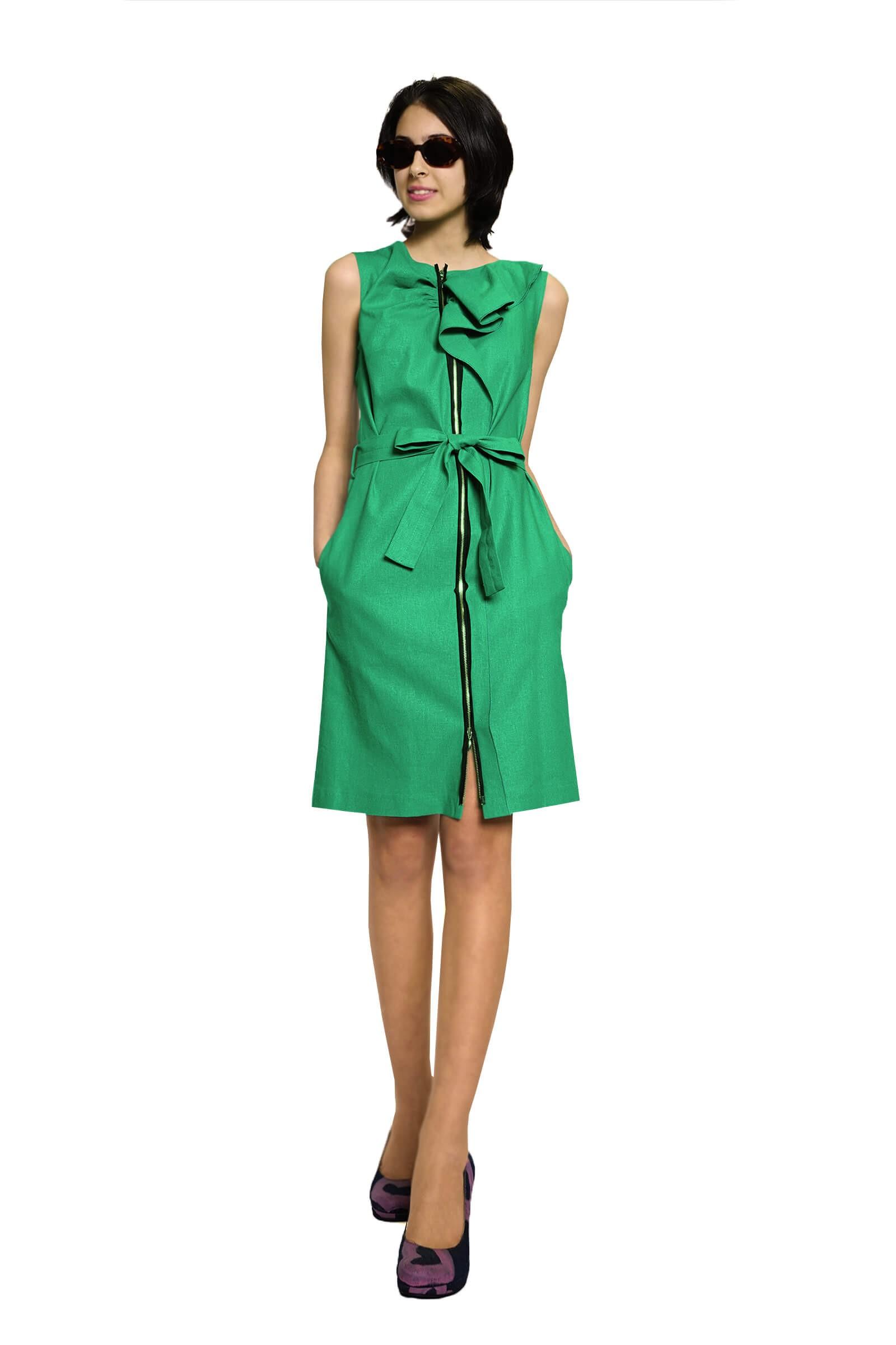Green linen dress with ruffles