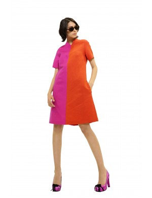 Rochie din in bicolor evazata
