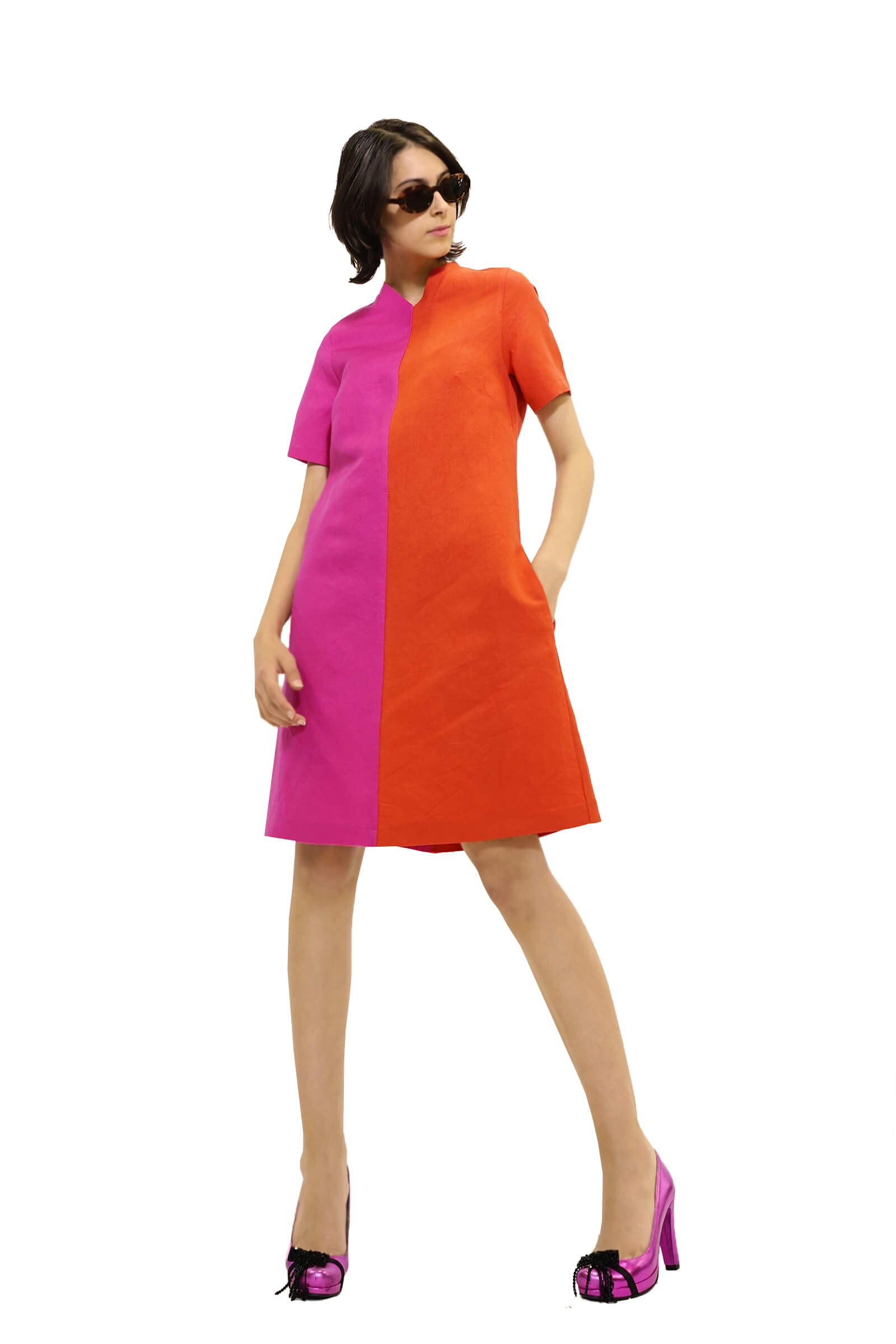 Flared two-tone linen dress