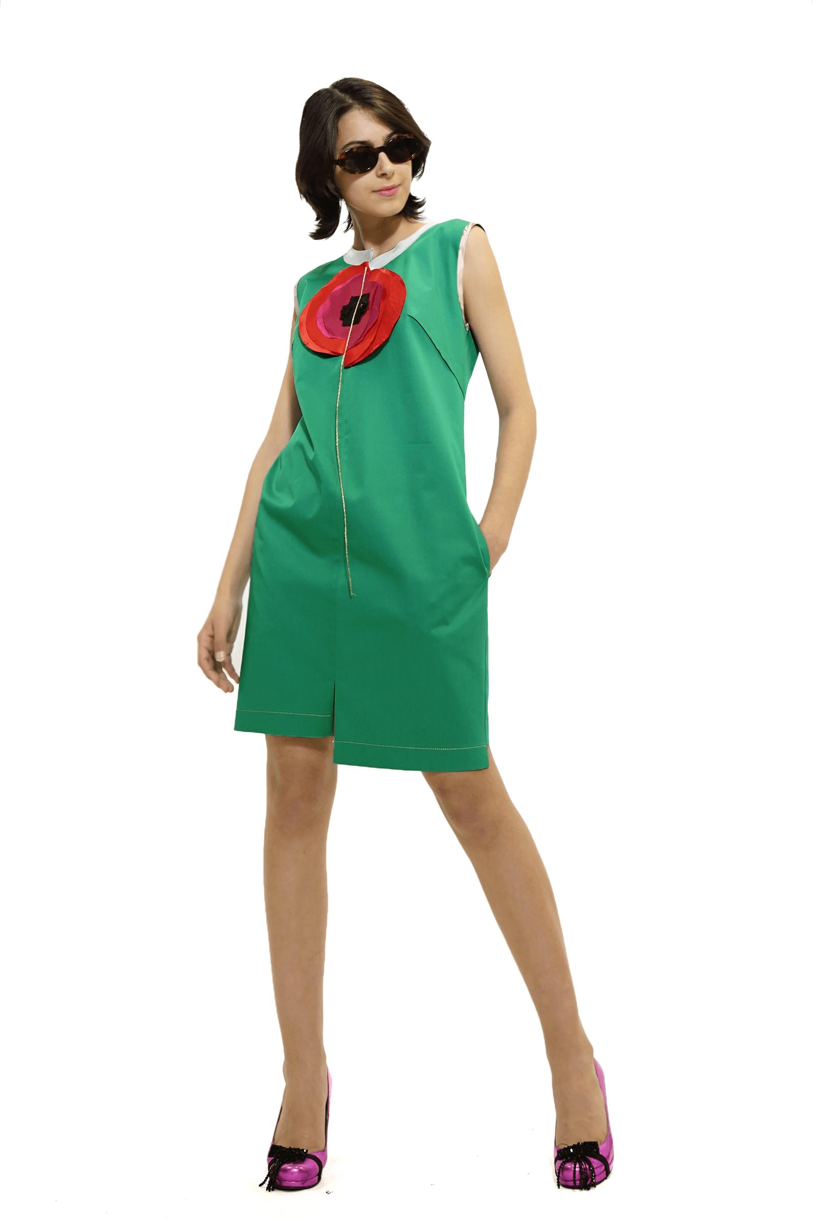 Rochie midi ,verde cu mac...