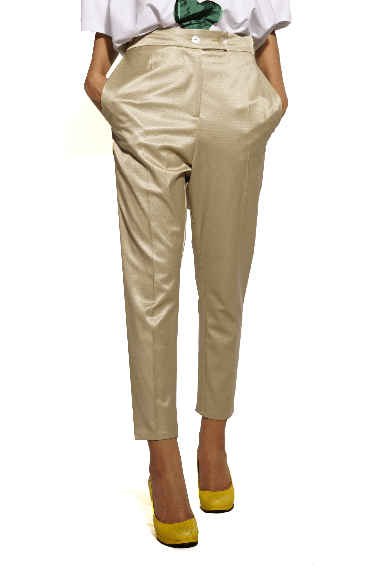 Satin beige pants