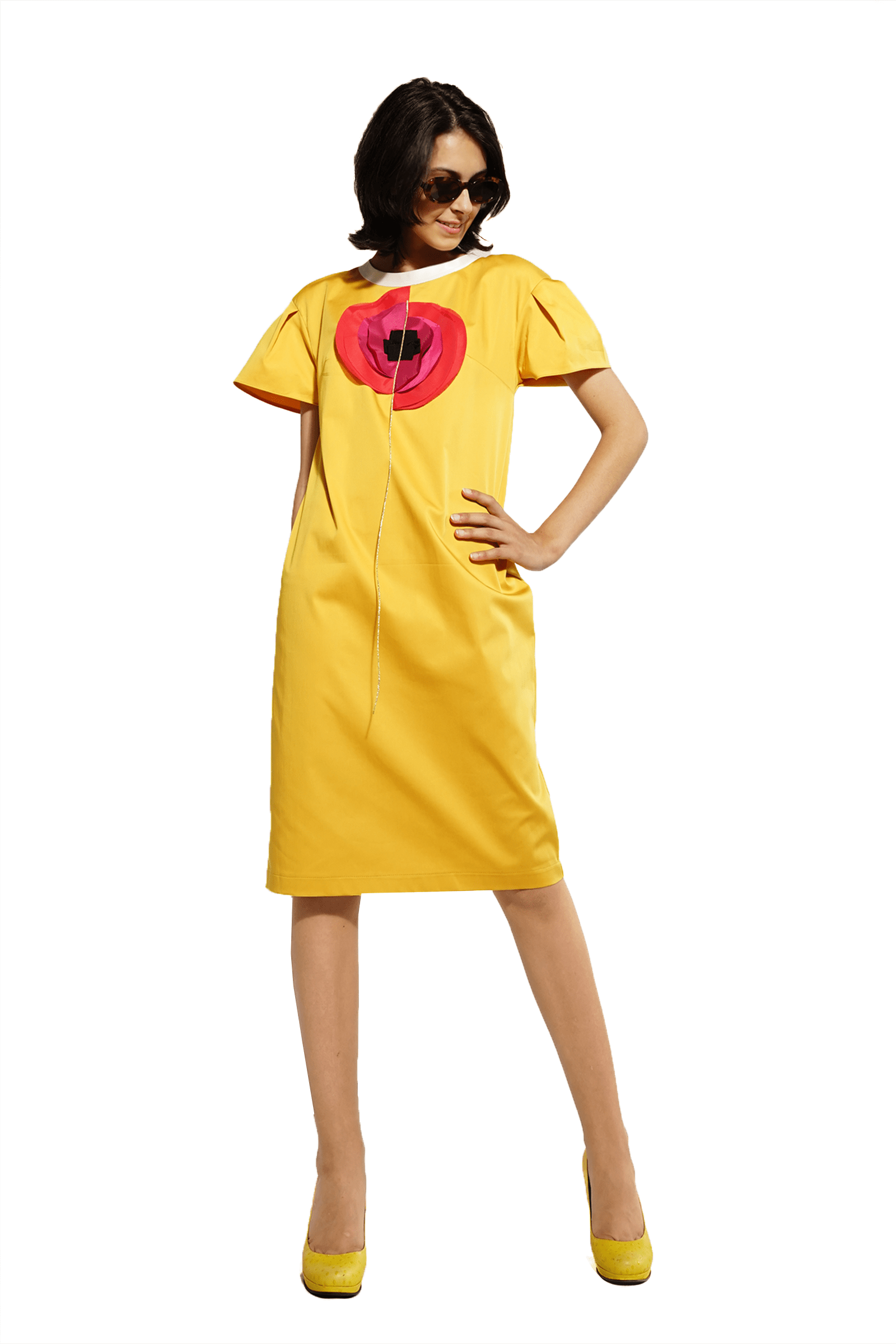 Yellow dress with poppies