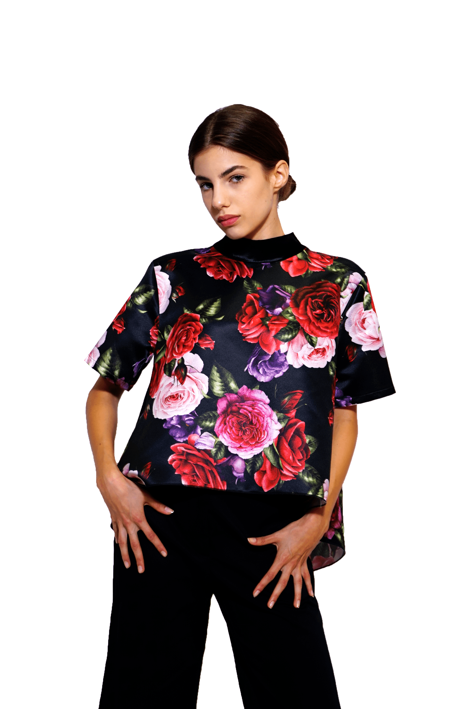 Wide flowered top