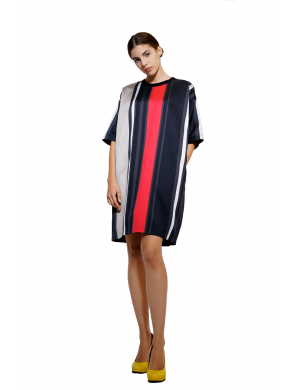 Straight dress with colored stripes