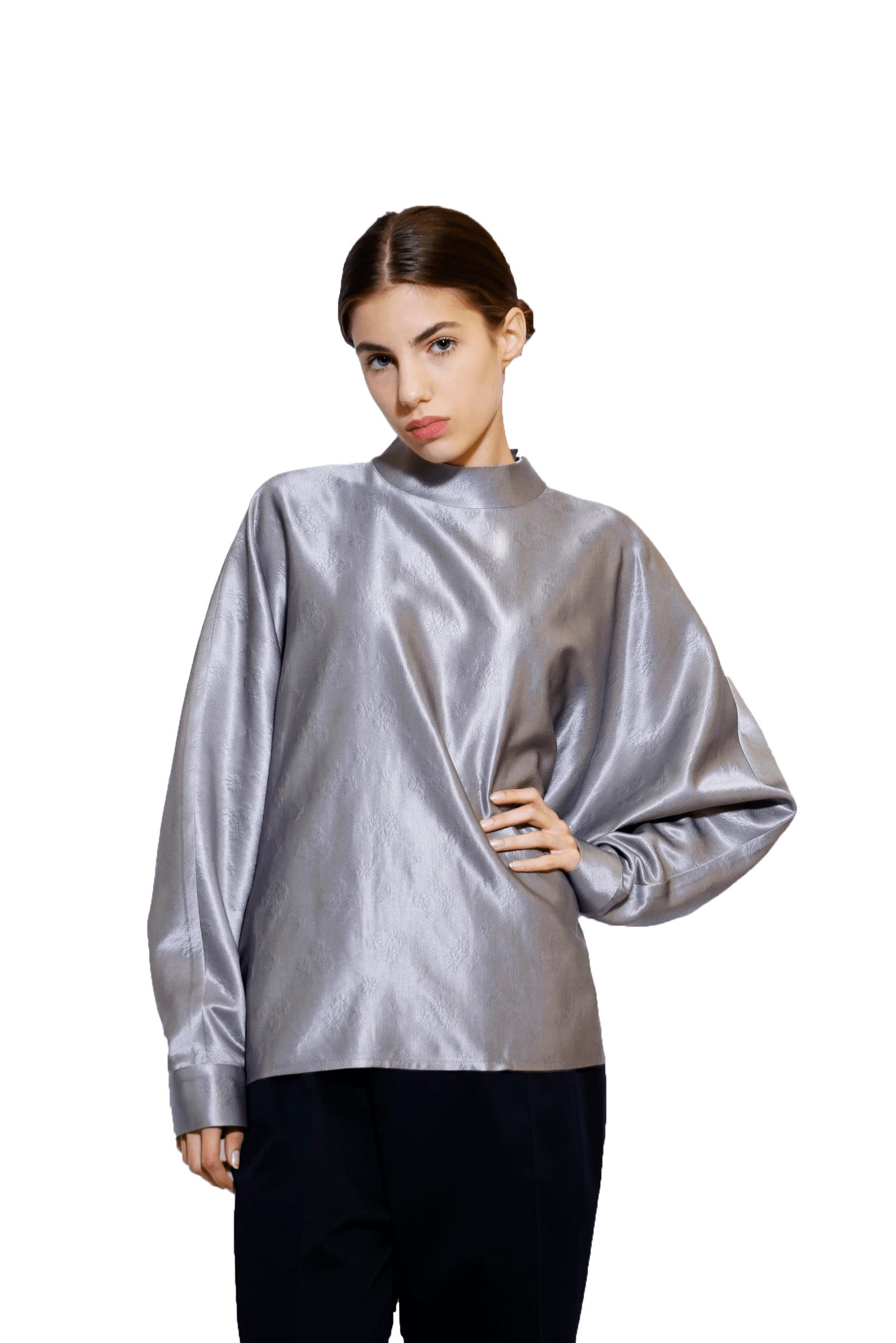 Bluza argintie din brocard