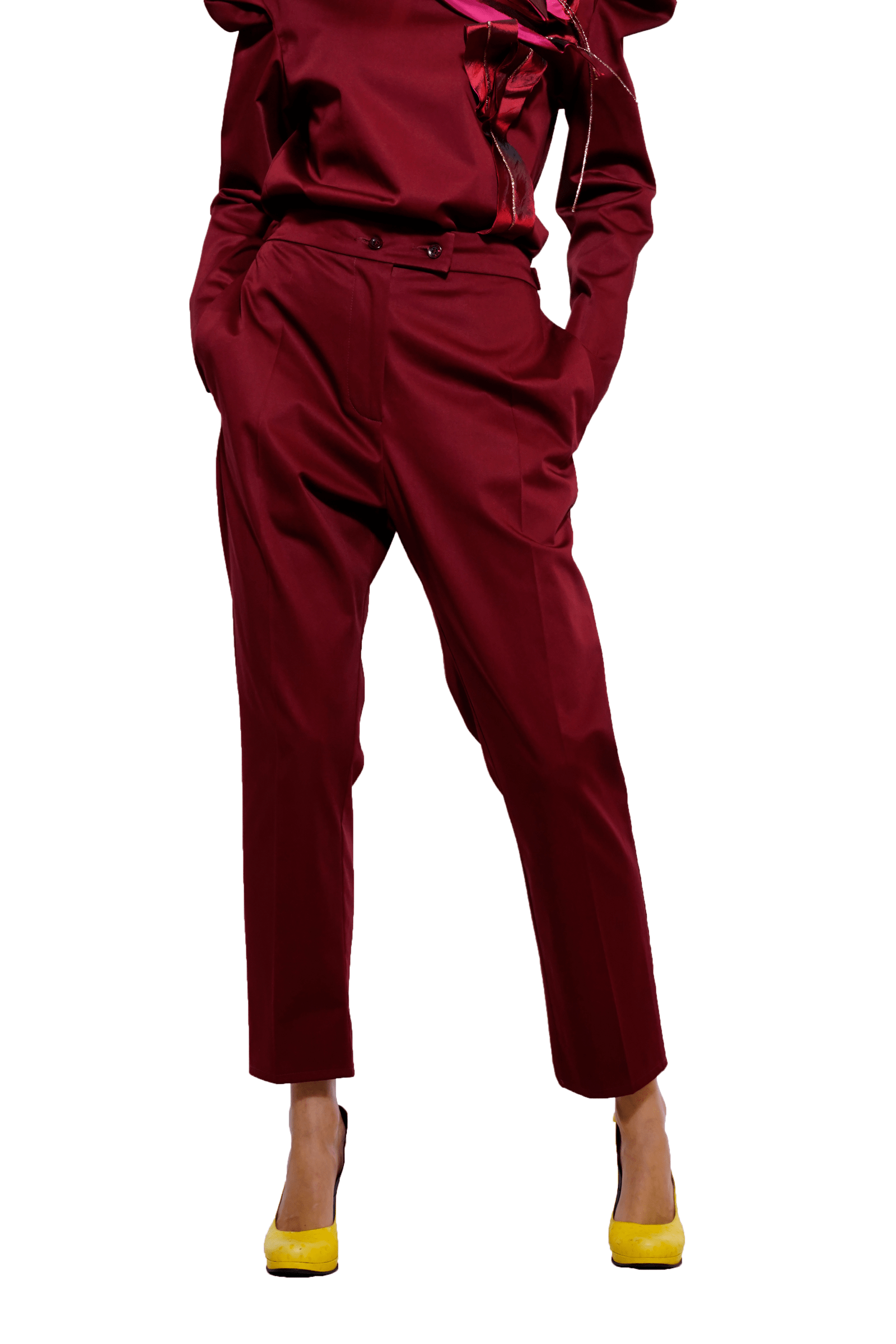 Maroon pants with loose...