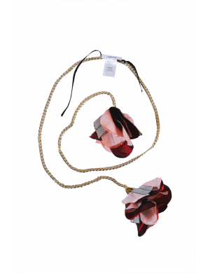 Metallic necklace with pink flowers