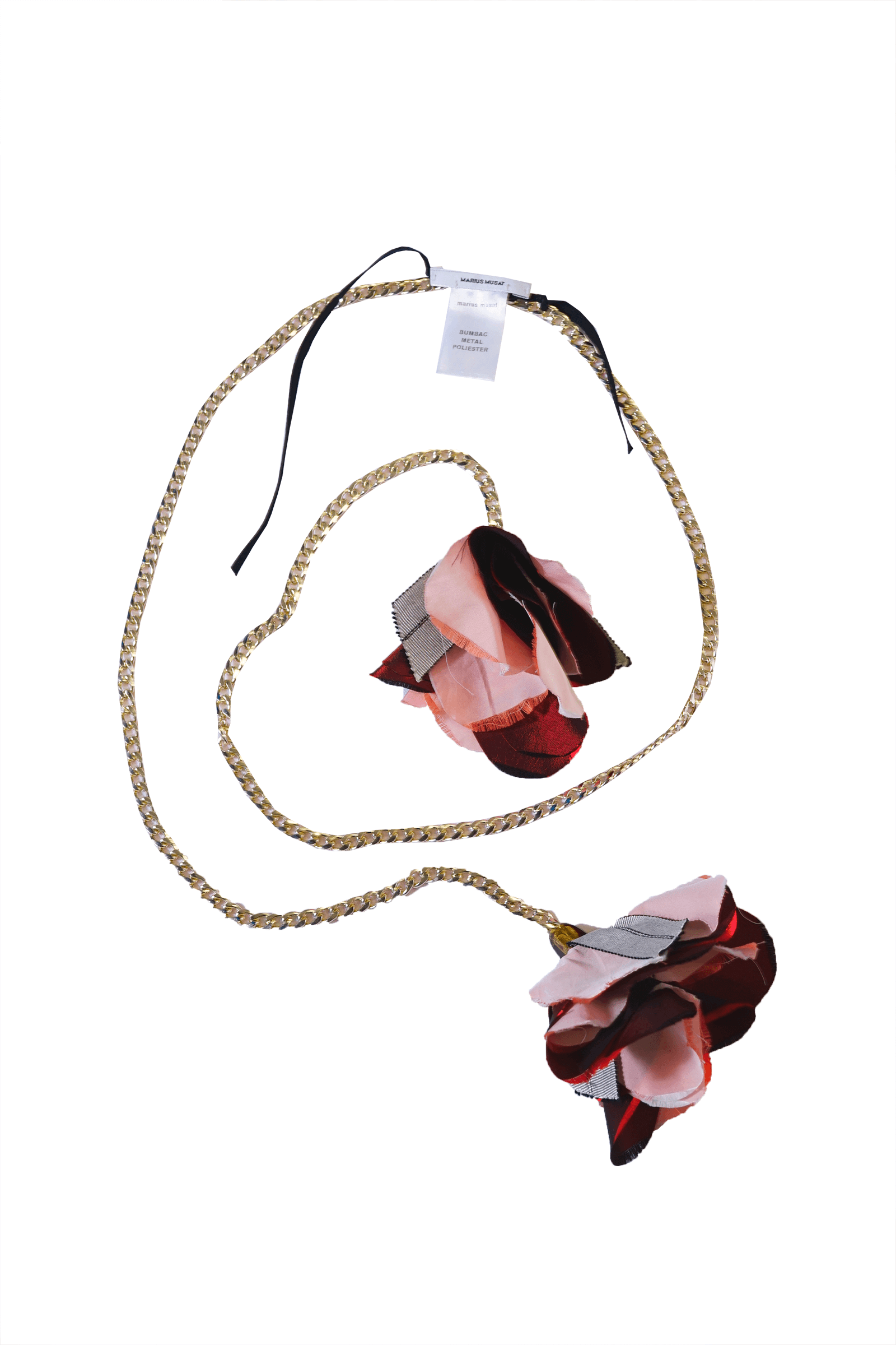Metallic necklace with pink...