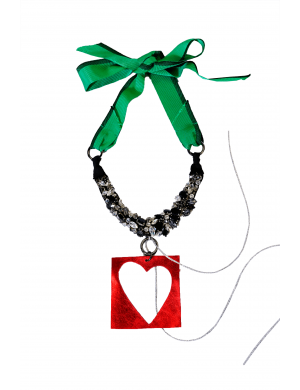 Necklace with stones and heart cutout