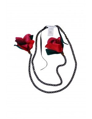 Metal necklace with red flowers