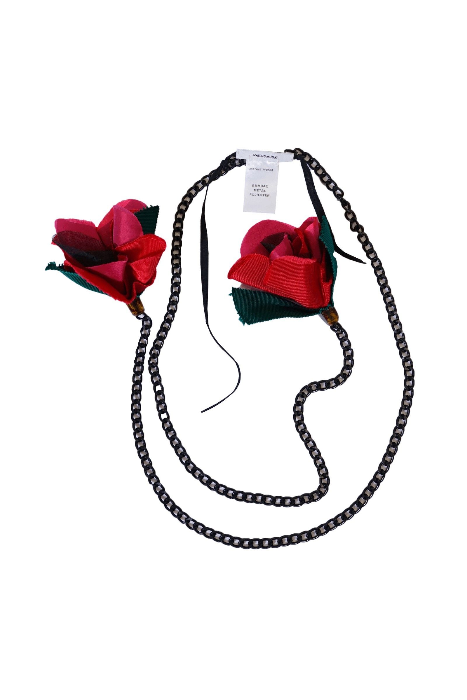 Metal necklace with red...