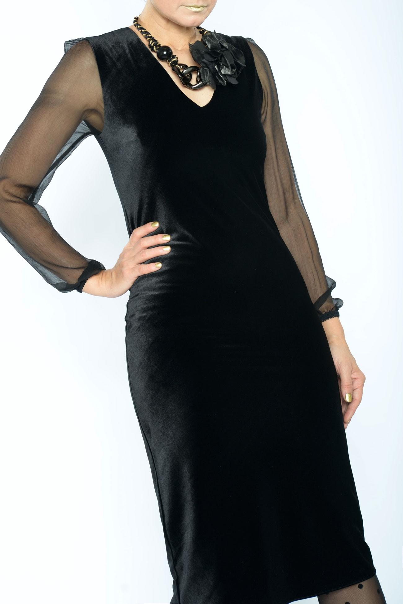 Rochie Catifea Neagra Mulata Rochii De Seara Elegante Mărime 36