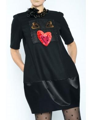 Rochie  stofa model gogoasa  cu banda lata  lucios negru , accesorii pasare 3 inimoare