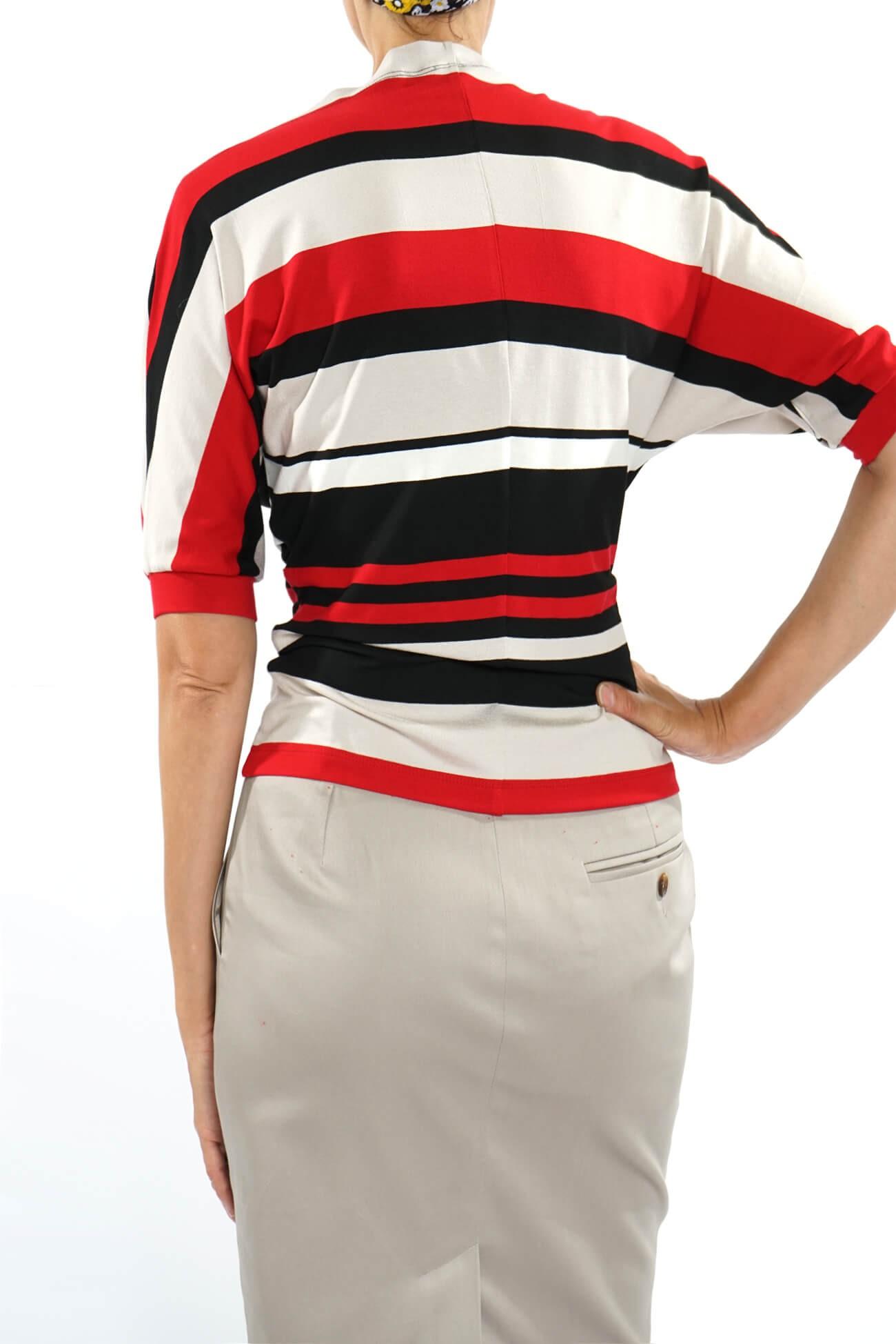 bluza asimetrica  din jerse cu dugi
