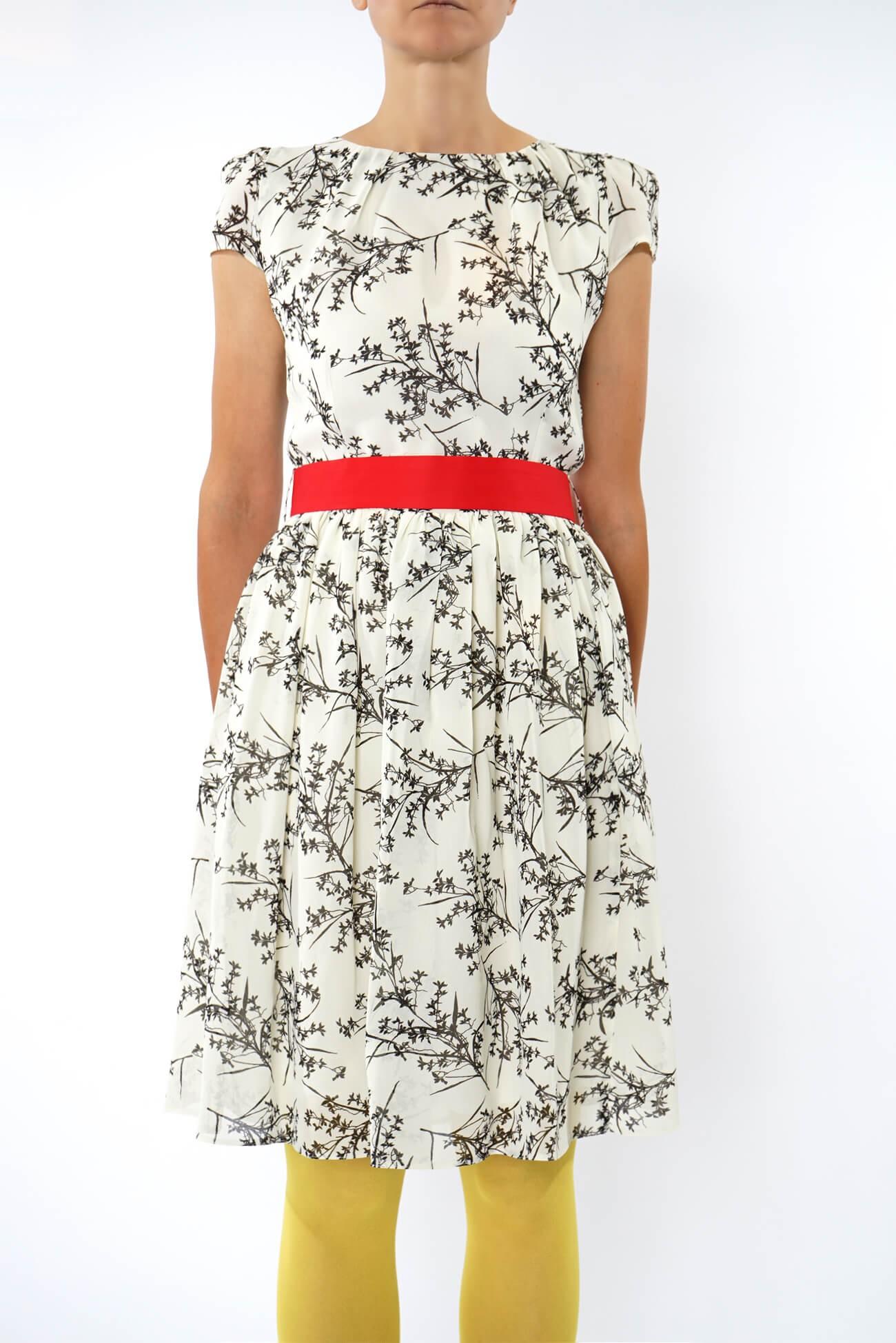 rochie midi din voal imprimat