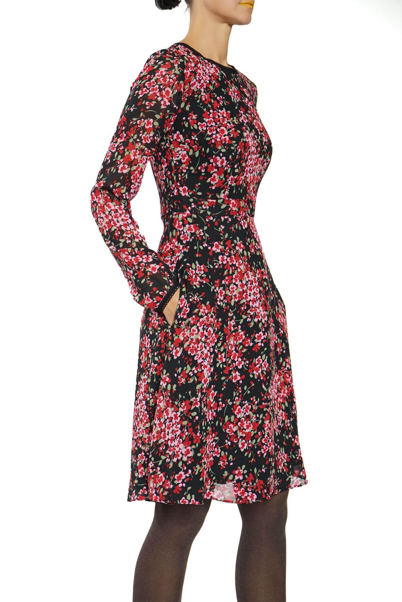 rochie midi din voal imprimat cu fusta semiclos
